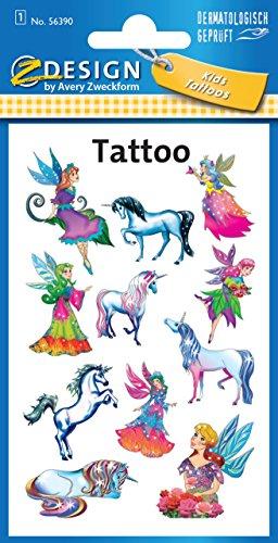 Avery Zweckform 56390 Kinder Tattoos, Elfen (temporäre Transferfolie, dermatologisch getestet), 11 Aufkleber