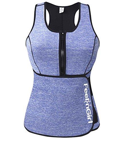 FeelinGirl Women Sauna Sweat Vest Neoprene Waist Trainer Workout Slimming Vest for Weight Loss with Adjustable Waist Trimmer Belt L