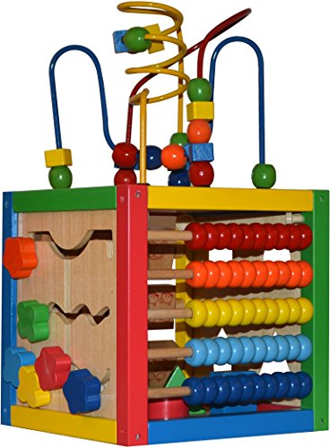 Play22 Activity Cube with Bead Maze - 5 in 1 Baby Activity Cube Includes Shape Sorter, Abacus Counting Beads, Counting Numbers, Sliding Shapes, Removable Bead Maze - My First Baby ()