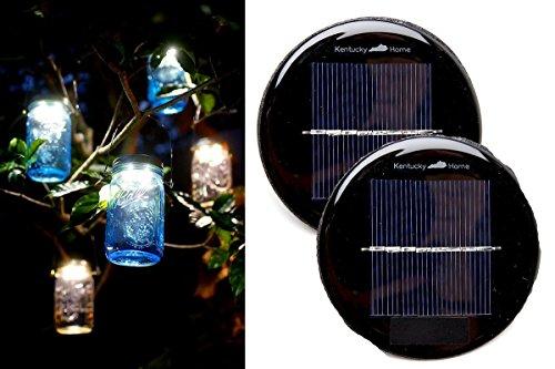 2 Pack - WIDE MOUTH Solar Mason Jar Lid Insert - LED Mason Jar Solar Light for Glass Mason Jars and Garden Decor Solar Lights