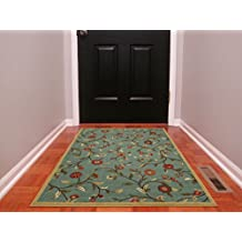 "Ottomanson Ottohome Collection Floral Garden Design Modern Area Rug with Non-Skid (Non-Slip) Rubber Backing, 3'3"" W X 5' L, Sage Green"