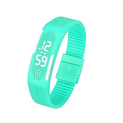 11d91324d17e Malloom®hombres mujeres caucho LED digital fecha deportes reloj de pulsera  (menta verde)