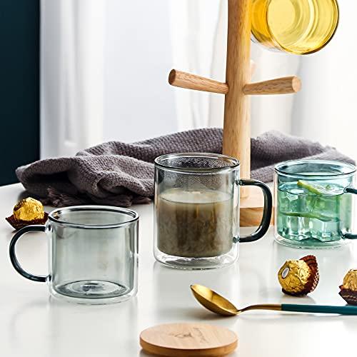 Farbe doppelwandige Gläser mit Griff und Deckel (275ml), Candiicap Thermogläser für Heißes & Kaltes Getränk, Kaffeegläser für Latte, Macchiato, Cappuccino, Cocktail, Tee