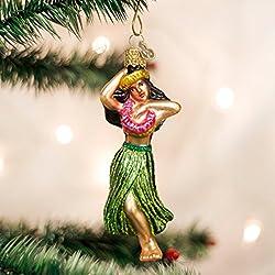 Old World Christmas Ornaments: Hula Dancer Glass Blown Ornaments for Christmas Tree
