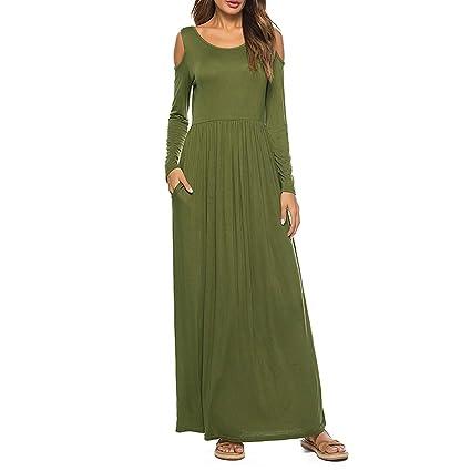 926d60ad5408 Fellissy Damen Kleider lang locker Maxikleid Partykleid Abendkleid mit  Taschen Rundhalsausschnitt Langarm Hemdkleid für Party und Freizeit   Amazon.de  ...