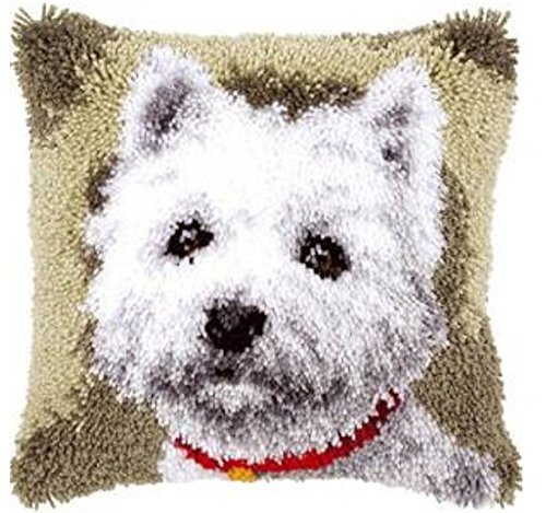 Pillow Bear Latch Hook (13 Model Latch Hook Kits for DIY Throw Pillow Cover Sofa Cushion Cover Owl/Dog/Cat/Bear/Bird with Pattern Printed 16X16 inch BZ841)