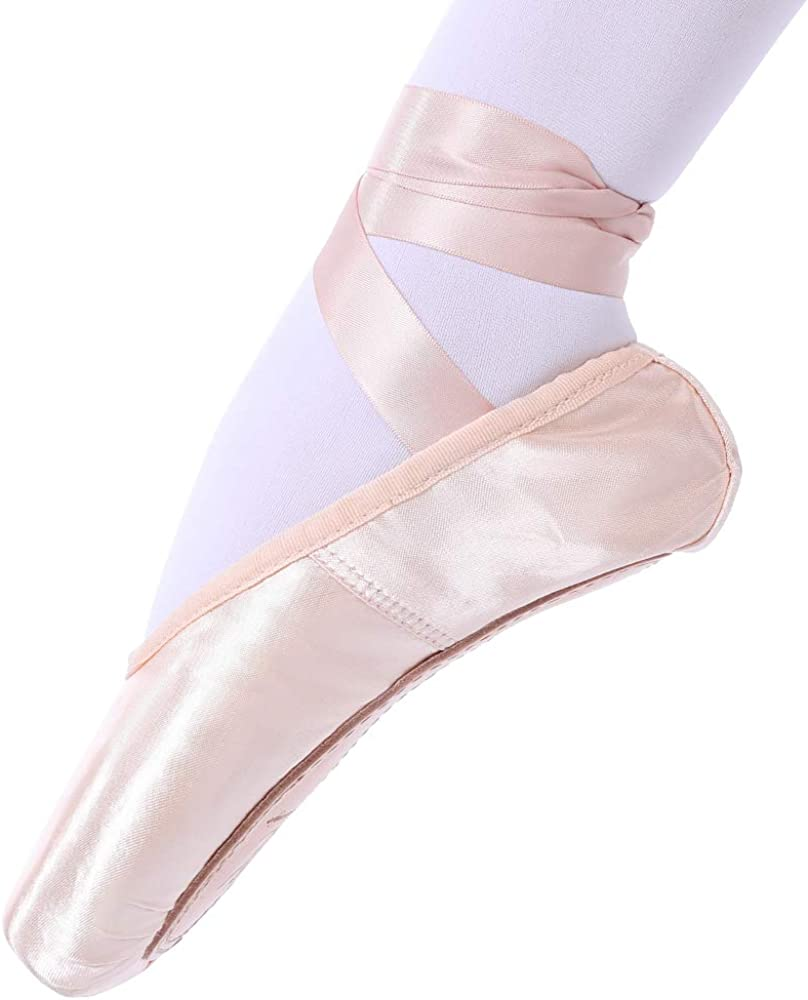 tanzdunsje Ballet Pointe Shoes Pink Professional Dance Shoes with Sewn Ribbon and Silicone Toe Pads for Girls Women