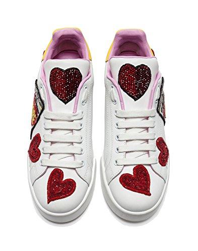 Dolce E Gabbana Damen Ck1545as7168b907 Weiss Leder Sneakers