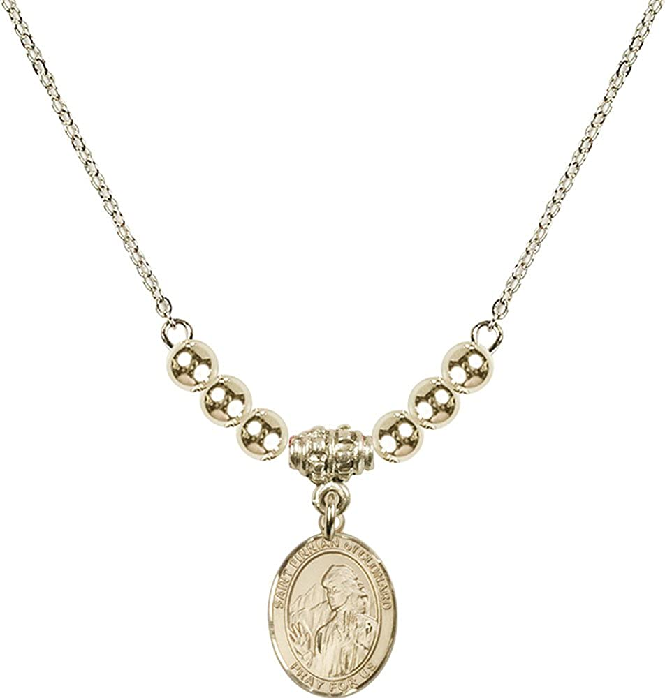 18-Inch Hamilton Gold Plated Necklace with 4mm Gold Filled Beads and Gold Filled Saint Finnian of Clonard Charm.