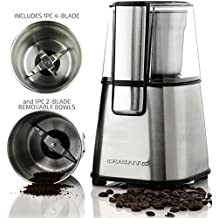 Ovente Multi-Purpose Stainless Steel Electric Grinder Set for Coffee Beans, Spices, Seeds, Nuts, Grains, etc. - Includes 2 Removable Grinding Bowls, 2-Blade and 4-Blade (CG620S + ACPCG6000)