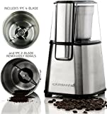 Ovente Multi-Purpose Stainless Steel Electric Grinder Set for Coffee Beans, Spices, Seeds, Nuts, Grains, etc. – Includes 2 Removable Grinding Bowls, 2-Blade and 4-Blade (CG620S + ACPCG6000) For Sale