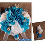 Seashell-Wedding-Bouquet-Boutonniere-for-Beach-Wedding-Turquoise-White-Silver