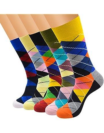 f6a85ba52771 FULIER Mens Pack Cotton Rich Smart Design Colorful Comfortable Dress Calf  Socks UK 6-13