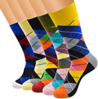 FULIER 5 Pack Mens Colorful Design Comfort Cotton Casual Crew Dress Socks