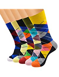 FULIER 5 Pack Mens Colorful Design Comfort Cotton Casual Crew Dress Socks