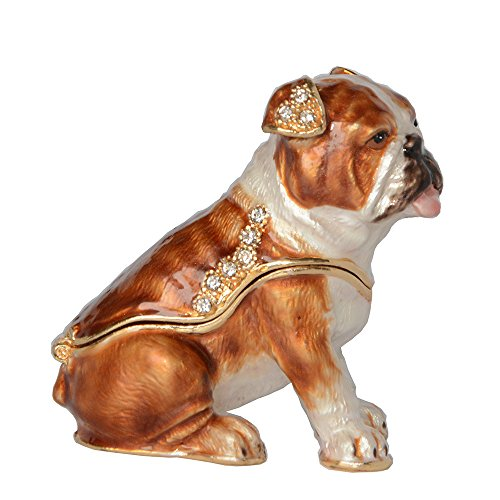 HSRT Bulldog Jewelry Trinket Box Crystals Jeweled Dog Figurine Pewter Enamel Animal Decor