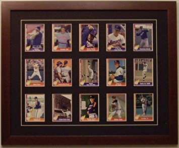 Trading Card Display Frame For 15 Standard Trading Cards Walnut Frame With Black White Trim Mat