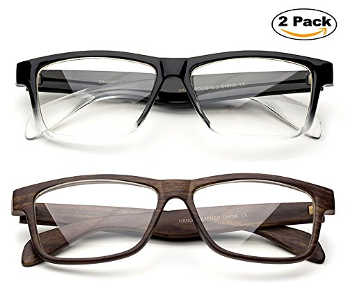 Unisex Clear Frames Squared Design Comfortable Stlyish for Women and Men 2 Pack Wood Brown & Clear 2