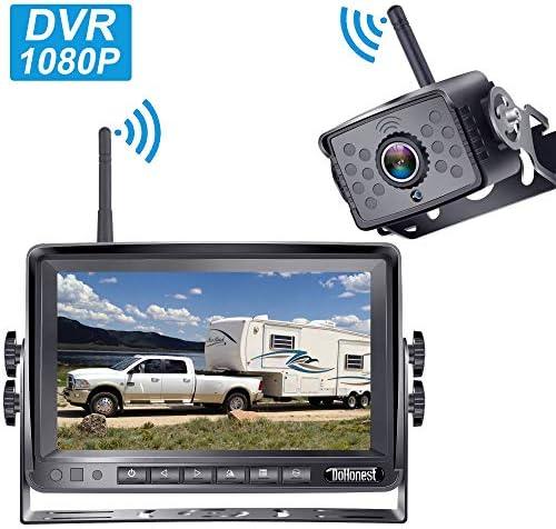 DoHonest FHD 1080P Digital Wireless Backup Camera Kit Built in DVR 7'' Monitor Split Screen Highway Observation System for Trucks,Trailers,Campers,RVs