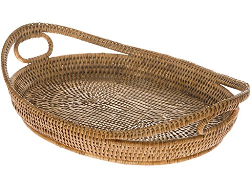 Kouboo, La Jolla Handwoven Oval Rattan Tray with Looped Handles, Honey Brown (Oval Rattan)