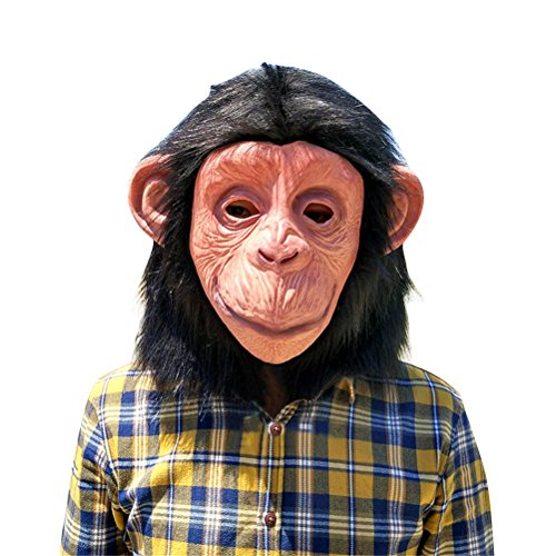 Gorilla Mask Latex, Realistic Funny Halloween Animal Costume Cosplay Headgear (A)