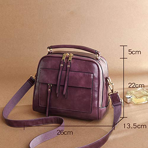 GZQDX Axelväskor för damer, handväska crossbody väska damhandväska mode äkta läder damväska dubbel tygväska