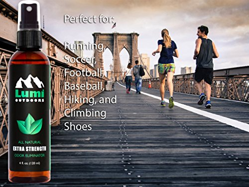 Lumi Outdoors Natural Shoe Deodorizer Spray and Foot Odor Eliminator - Extra Strength Shoe Spray uses Essential Oils As Organic Deodorant - Peppermint, Tea Tree, Eucalyptus