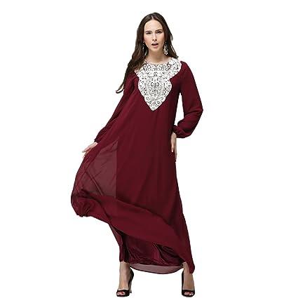 BOZEVON Elegante Mujeres Vestido de Musulmán Árabe Túnica Manga Larga Largos Vestidos: Amazon.es: Ropa y accesorios