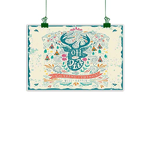 J Chief Sky Vintage Mural Reindeer with Antlers with Native American Tribal Element and Flowers Motivational Room Decor W 47