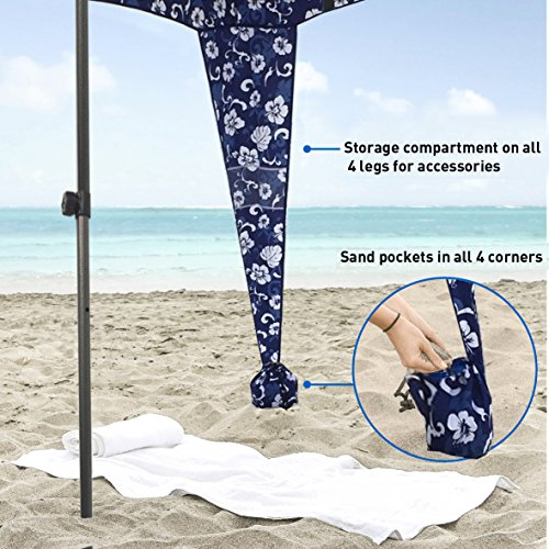EasyGoProducts Beach Umbrella & Sports Cabana, Blue Flowers, 6' x 6'