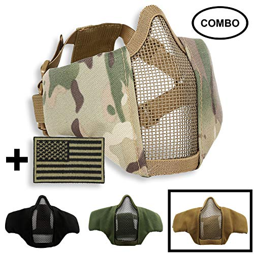 SPIKELAB Foldable Airsoft Half Face Metal Mesh Mask and US Flag Patch Combo, Adjustable Military Tactical Mask with Military Emblem Patch in Four Colors, PMC Outfit (Tan)