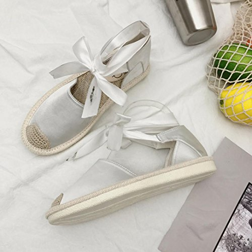 Jamicy Women Fashion Lace Up Espadrilles Ankle Strap Summer Casual Flat Sandals Shoes White 3yGGij1