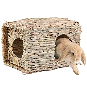 Grass House for Rabbit – Natural Hand Woven Seagrass Hay Hut Foldable Woven Hut, Hideaway Hut Toy for Bunny, Guinea Pigs…