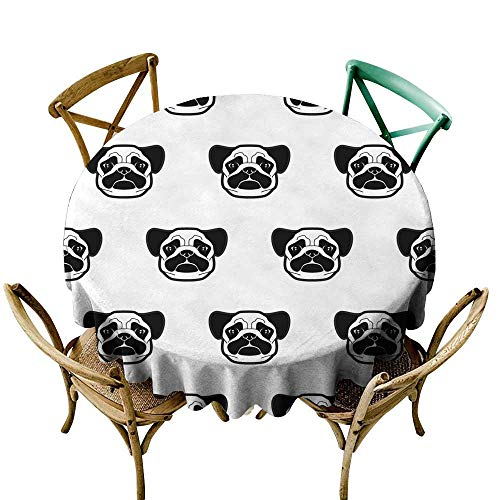 - SKDSArts Rectangle Oblong Table Seamless Pattern with Cute Pug Dog Heads Texture for Wallpapers Pattern Fills Textile Design Web Page Backgrounds D36,Spillproof Fabric Tablecloth