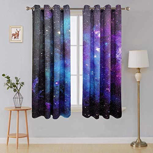 Riyidecor Starry Sky Night Blackout Curtains (2 Panels Each 52 x 63 Inch) Dark Blue Starry Ocean Magical Universe Galaxy Nebula Stars Printed Living Room Bedroom Window Drapes Treatment Fabric