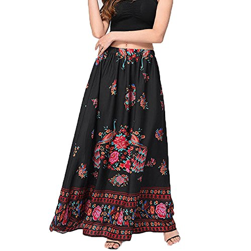 FarJing Hot Sale Women Boho Maxi Skirt Beach Floral Holiday Summer High Waist Long Skirt