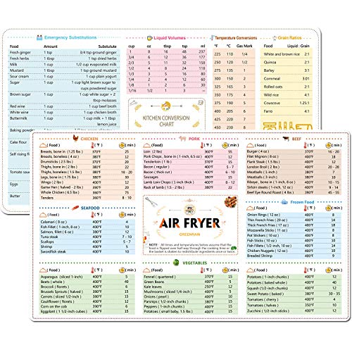 2 Pack Magnetic Cheat Sheets Compatible with Air Fryer Cooking Times Quick Reference Guide Air Fryer Accessories - Conversion Accessories Air