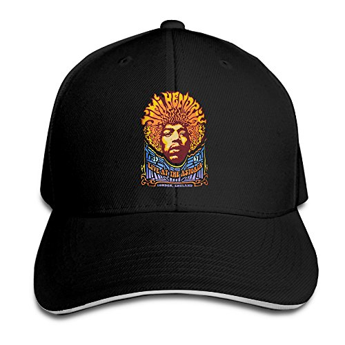 Jimi Hendrix Cap (Cool Jimi Hendrix Live At The Astoria Baseball Caps Black Sandwich Peaked Cap)