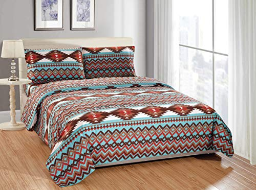 Navajo Pattern - Rugs 4 Less Southwestern Turquoise Blue King Sheet Set in Native American Tribal Patterns - Utah King Turquoise Sheet