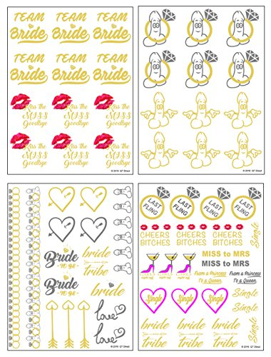 QTni Bachelorette Party Tattoos - Metallic Shiny Temporary Flash Tattoos To Dress Up Your Body for Girls's Night Out Last Fling Before The Ring - Set of - Party Outrageous