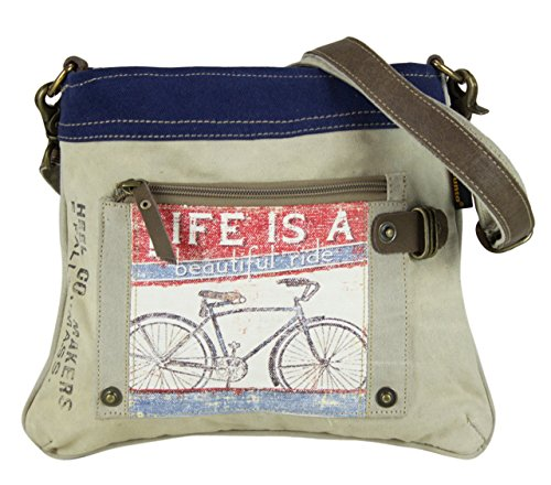 Bolso de compra señora Sunsa Vintage Bolso de hombro bolso de mano hecho de tela / tela con cuero 51753