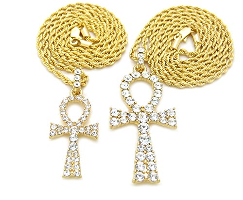 Egyptian Iced Out Double Ankh Pendant 20