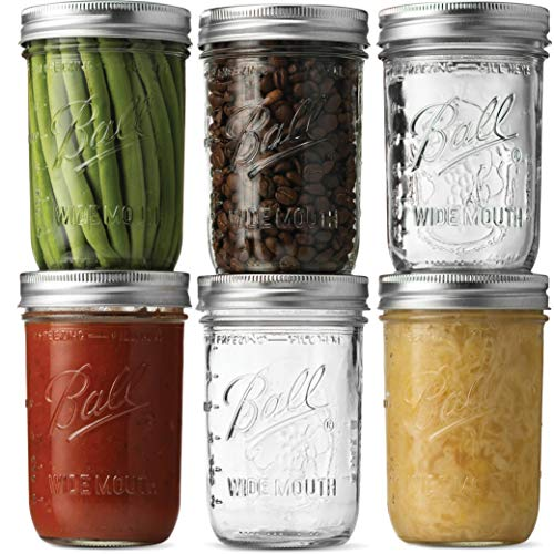 Ball Wide Mouth Mason Jars (16 oz/Pint capacity) 6 Pack - Microwave & Dishwasher Safe. + SEWANTA Jar Opener]()
