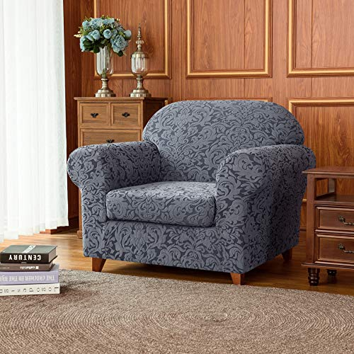 Subrtex 2-Piece Jacquard Damask Sofa Slipcovers Armchair Couch Cover High Elastic Stretch Furniture Protector for Chair Settee with Seat Cushions (Chair, Grayish Blue)