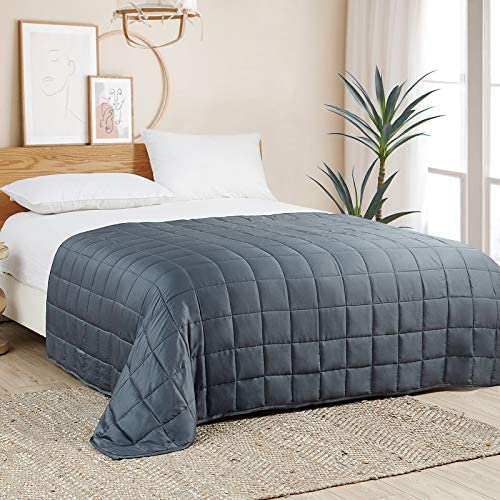 YnM Bamboo Weighted Blanket — 100% Cooling Bamboo Viscose Oeko-Tex Certified Material with Premium Glass Beads (Blue Grey, 48''x72'' 15lbs), Suit for One Person(~140lb) Use on Twin/Full Bed