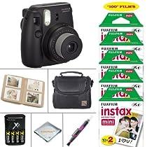 Fujifilm Mini 8 Instant Film Camera (Black) - Fujifilm Instax Film 100 PCS - Battery & Cahrger - Photo Album - Case