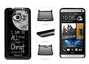 Philippians 4:13 Verse With Moon In The Sky Plastic Phone Case Back Cover For HTC One M7