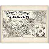 1878 Texas Map of Colonists' and Emigrants' Route - 11x14 Unframed Art Print - Great Vintage Home Decor Under $15