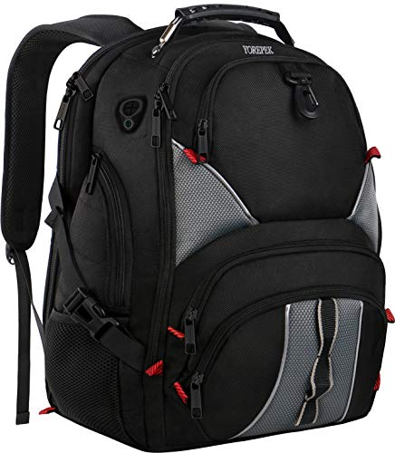(YOREPEK 17 Inch Laptop Backpack,Large Travel Backpacks for International Travel,TSA Friendly Computer Backpack with USB Port for Men Women,Water Resistant College School Bag with Luggage)