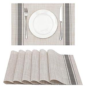 Lucas Forest Vinyl Placemat Set of 6, Dining Dish Mat Desk Dresser Protector Heat Resistant Wipeable Square Plastic…